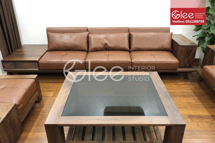 sofa gỗ óc chó đẳng cấp