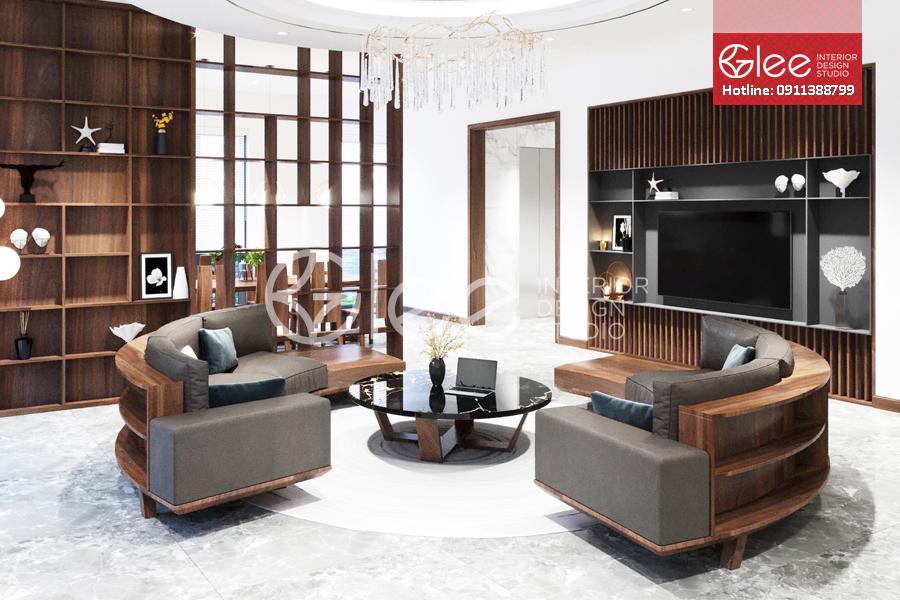 sofa gỗ óc chó cong